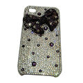 Bowknot cartoon bling crystal diamond case for iphone 4G - purple