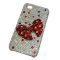 Bowknot cartoon bling crystal diamond case for iphone 4G - red