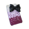 Bowknot crystal bling case for iphone 4G - purple