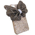 Large-bowknot bling crystal case for iphone 4G - champagne