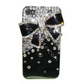 Bowknot S-warovski bling crystal case for iphone 4G - black