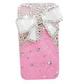Bowknot S-warovski bling crystal case for iphone 4G - pink
