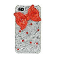 Bowknot S-warovski bling crystal case for iphone 4G - red