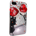 Bowknot S-warovski bling big crystal case for iphone 4G - red