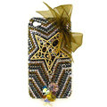 Bowknot S-warovski bling crystal case for iphone 4G - brown