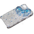 Bowknot crystal bling case for iphone 4G - blue