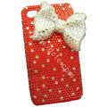 Bowknot crystal bling case for iphone 4G - red
