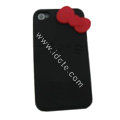 Brand New Bowknot Silicone case for iphone 4G - black