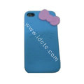 Brand New Bowknot Silicone case for iphone 4G - blue