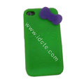 Brand New Bowknot Silicone case for iphone 4G - green