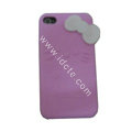 Brand New Bowknot Silicone case for iphone 4G - pink