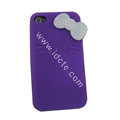 Brand New Bowknot Silicone case for iphone 4G - purple