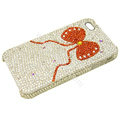 Brand New Bowknot crystal bling case for iphone 4G - red