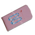 Brand New Bowknot shoes leather case for iphone 4G - pink