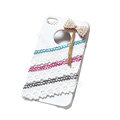 Brand New Bowknot lace crystal case for iphone 4G - white