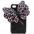 Large-bowknot Leopard crystal case for iphone 4G - pink