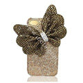 Large-bowknot bling crystal case for iphone 4G - gold