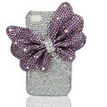 Large-bowknot bling crystal case for iphone 4G - light purple