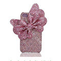 Large-bowknot bling crystal case for iphone 4G - pink
