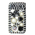 Brand New flowers bling crystal case for Samsung i9000 - black
