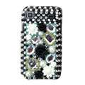 Flowers Rhinestone Diamond Crystal case for Samsung i9000 - black