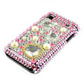 Heart Rhinestone Bling Crystal for Samsung i9000 case - yellow