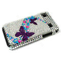 Butterfly bling crystal for Samsung i9000 case - purple