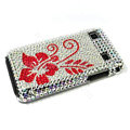 Flower bling crystal for Samsung i9000 case - red