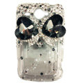 Bowknot S-warovski bling crystal case for HTC G8 - black