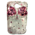 Bowknot S-warovski bling crystal case for HTC G8 - pink