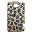 Leopard bling crystal case for HTC G8 - gold