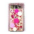 Flower 3D bling crystal case for HTC Desire HD A9191 G10 - pink