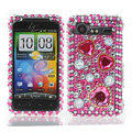 Hearts 3D bling crystal case for HTC G11 - pink