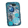Flower 3D Bling crystal case for Blackberry 8900 - blue