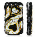 Heart Pattern Bling crystal case for BlackBerry 9700 - black