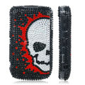 Skull bling crystal case for BlackBerry 8520 - black