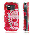 Skull bling crystal case for Nokia N97 - red