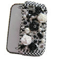 Flower 3D bling crystal case for Nokia N97 mini - black