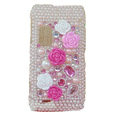 Flower 3D bling crystal case for NOKIA E7 - pink