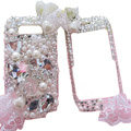 Bling pearl crystal diamond case for Nokia E71 - white