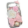 Bowknot Flower bling pearl crystal case for Nokia E71 - pink