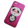 Panda scrub hard back cover for iphone 4G - red