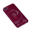 bling Panda hard back cover for iphone 4G - red