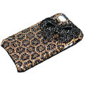 Bling black bowknot crystal case for iPhone 4G - Leopard Bottom