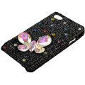 Bling Butterfly crystal case for iPhone 4G - black
