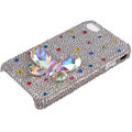 Bling Butterfly crystal case for iPhone 4G - white