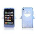 Angel and Devil Silicone Case for iPhone 3G/3GS - Angel sky-blue