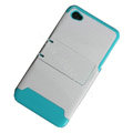 Amass Stand Hard Back Cases Covers for iPhone 4G - Blue edge