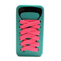 ISHOES Shoelace silicone cases covers for iPhone 4G - blue