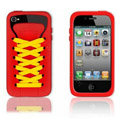 ISHOES Shoelace silicone cases covers for iPhone 4G - red